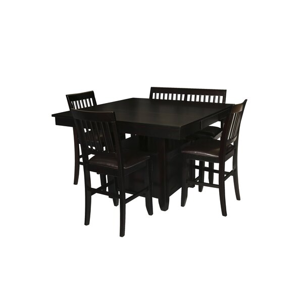 Dabrowski 5 Piece Counter Height Solid Wood Dining Set by Winston Porter
