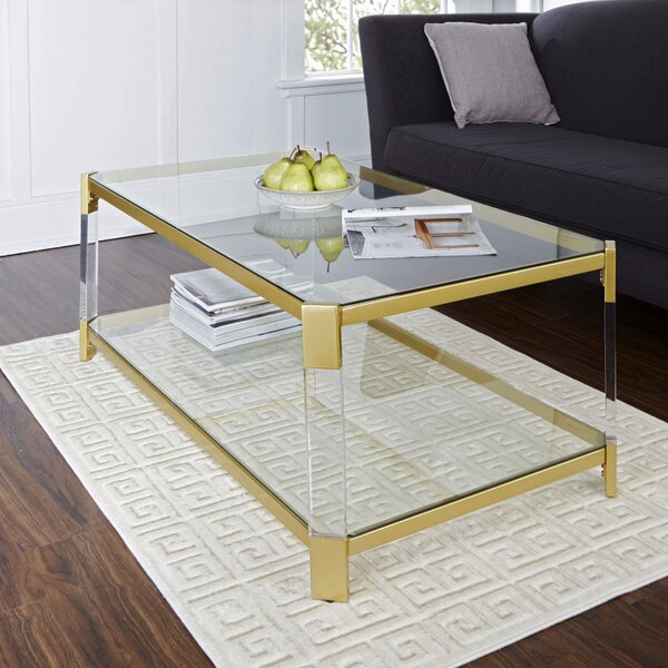 Hythe Clear Glass Coffee Table by Everly Quinn
