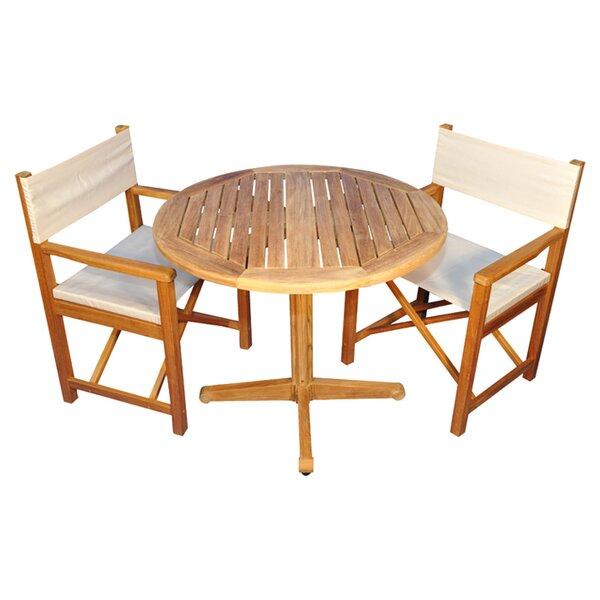 Oxford 3 Piece Teak Dining Set with Sunbrella Cushions by Regal Teak