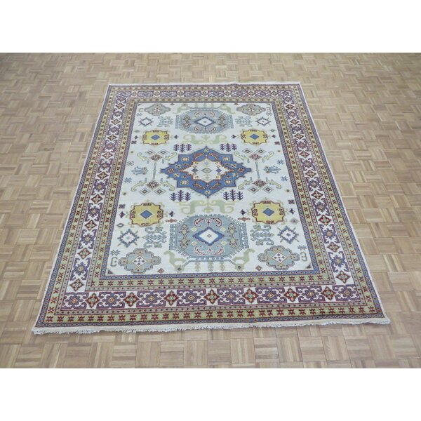 One-of-a-Kind Eliana Tribal Geometric Hand-Knotted Wool Ivory/Blue Area Rug by World Menagerie