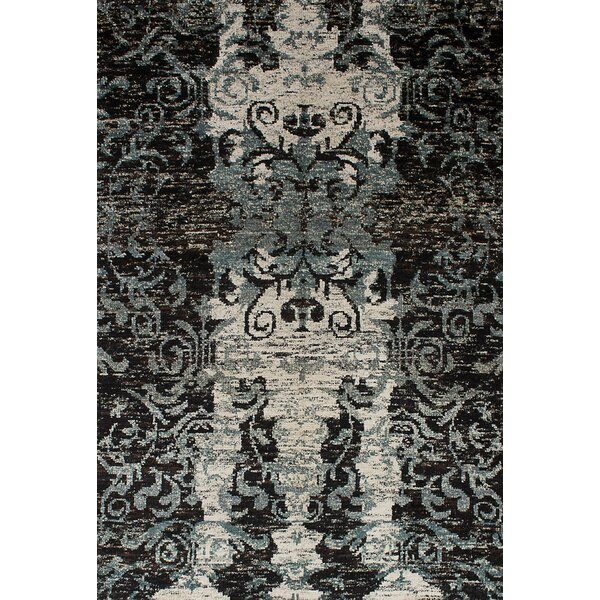 One-of-a-Kind Ambridge Hand-Knotted Silk Black Area Rug by Red Barrel Studio