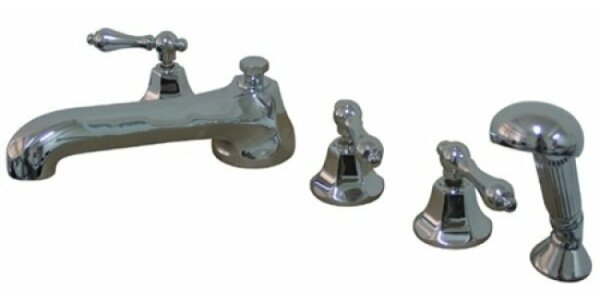 Roman Triple Handle Deck Mounted Roman Tub Faucet Trim With Diverter And Handshower By Kingston Brass
