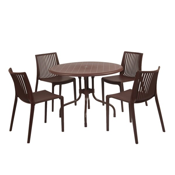Gerardi Commercial Grade 5 Piece Dining Set by Wrought Studio