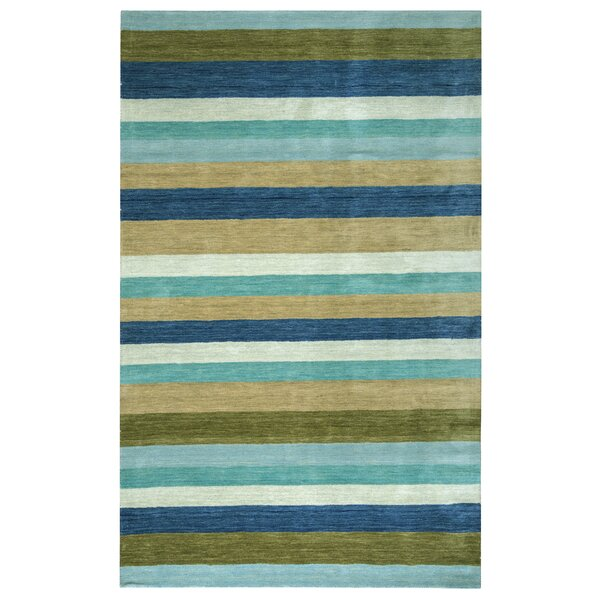 Hand-Woven Brown/Blue Area Rug by The Conestoga Trading Co.