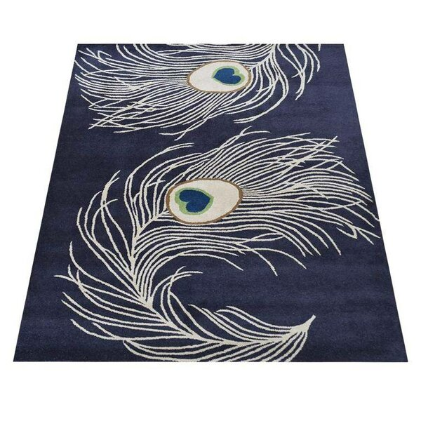 Nancy Hand-Tufted Wool Navy/White Area Rug by World Menagerie
