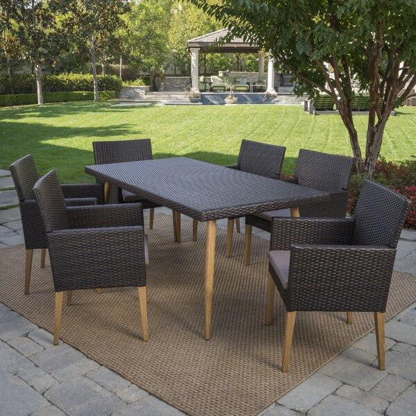 Sobel Outdoor 7 Piece Dining Set with Cushions by Corrigan Studio