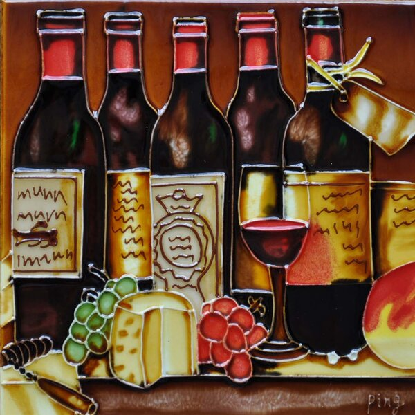5 Wine Bottles Tile Wall Decor by Continental Art Center