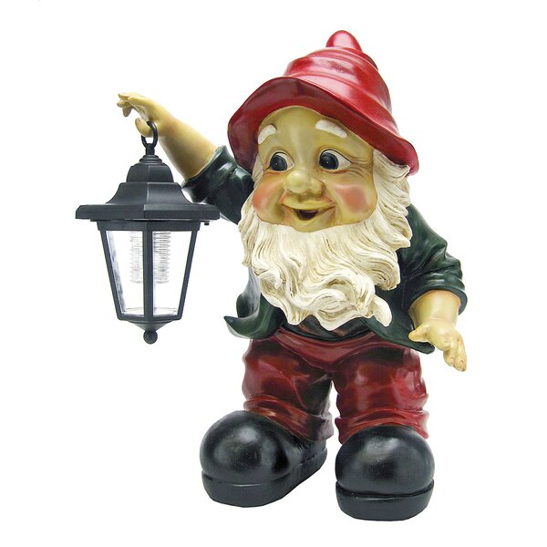 Design Toscano Edison With The Lighted Lantern Garden Gnome Statue U0026  Reviews | Wayfair