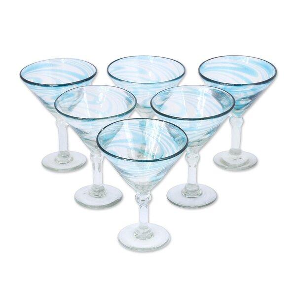 Berlyn Cerulean Threads 6 oz. Glass Martini Glass (Set of 6) by Highland Dunes