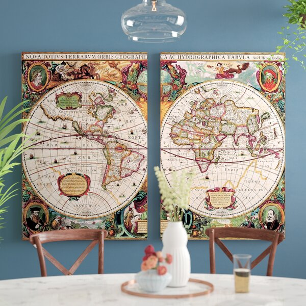 World Map 2 Piece Framed Graphic Art on Wrapped Canvas Set by World Menagerie