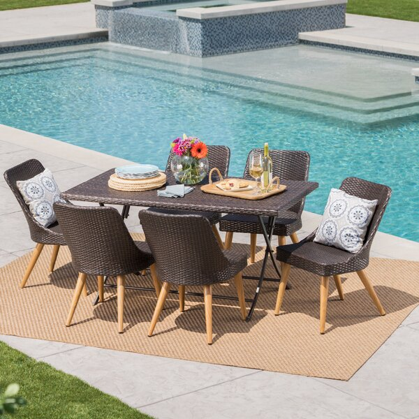 Bart Outdoor Wicker 7 Piece Dining Set by Ivy Bronx