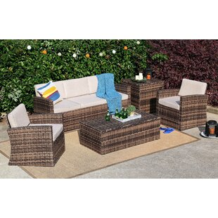 Brayson 5 Piece Rattan Sofa Seating Group with Cushions ByHighland Dunes
