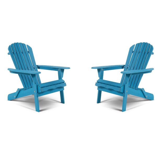 Whetsel Solid Wood Folding Adirondack Chair (Set of 2) by Highland Dunes Highland Dunes