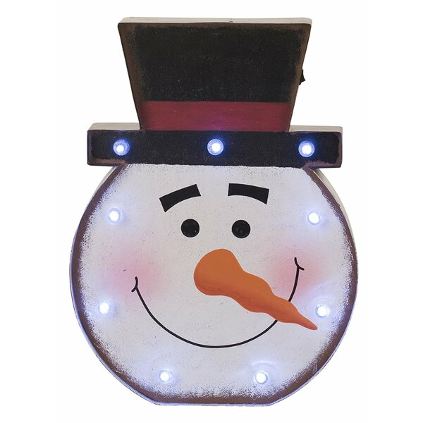 Lighted Snowman Head Marquee Sign 9 Light Lamp by Glitzhome