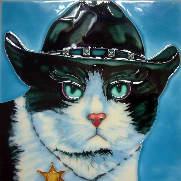 Sheriff Cat Tile Wall Decor by Continental Art Center
