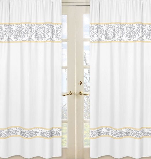 Avery Damask Semi-Sheer Rod pocket Curtain Panels (Set of 2) by Sweet Jojo Designs