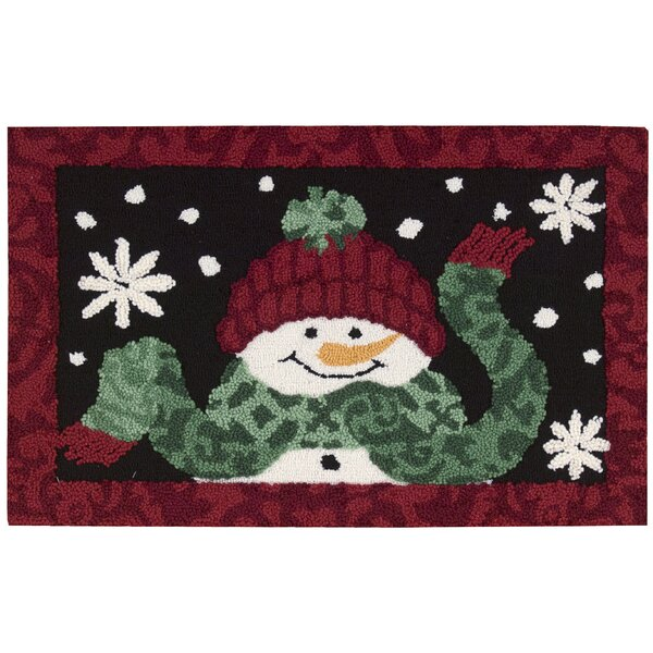 Christmas Hand Hooked Black/Red Area Rug by Waverly