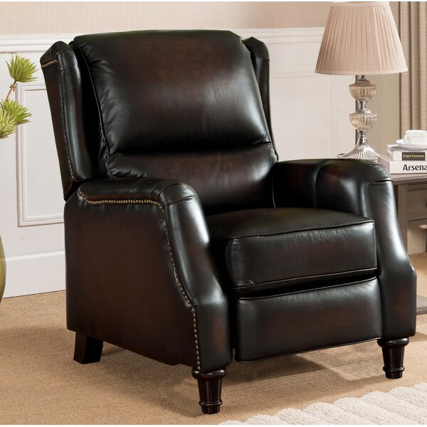 Aguiar Wingback Leather Manual Recliner by Darby Home Co Darby Home Co