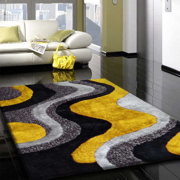 Arkwright Hand-Tufted Gray/Yellow Area Rug by Orren Ellis