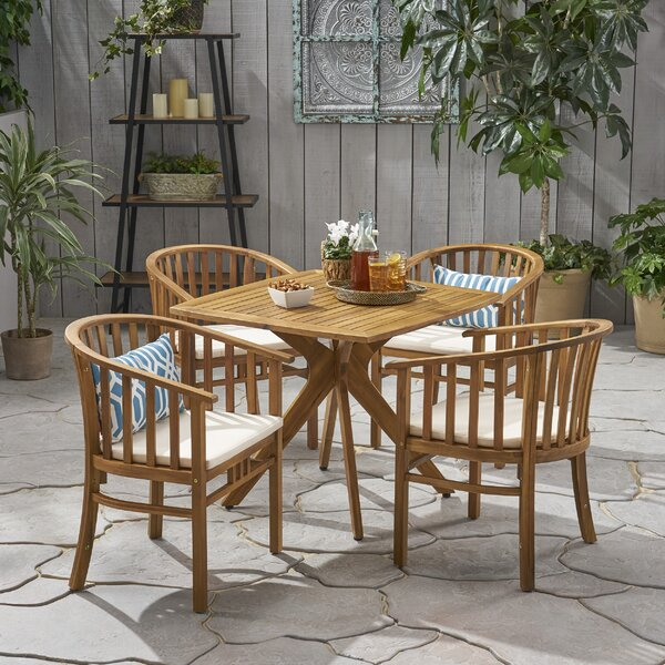 Sheard Outdoor 5 Piece Dining Set with Cushions by Highland Dunes