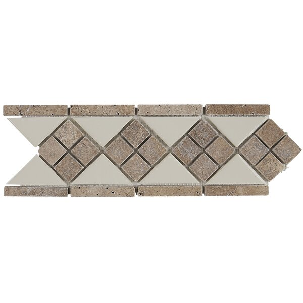 Morrison 4 x 12 Natural Stone Listello Tile in Almond and Noce by Itona Tile