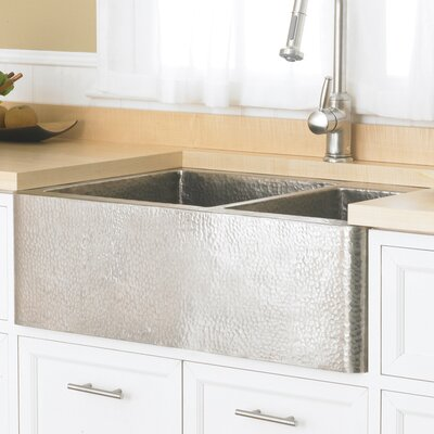 Kitchen Sink Double Basin Brushed Nickel 4 Product Photo