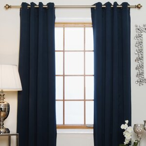 Caples Solid Blackout Thermal Grommet Curtain Panels (Set of 2)