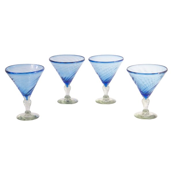 Javier and Efren Ice Martini Glass (Set of 4) by Novica