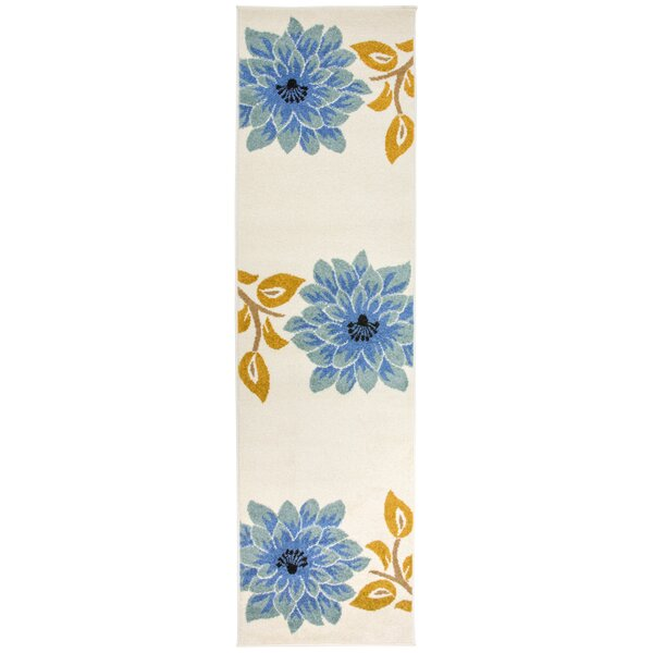 Kaliyah Floral Large Blue/Cream Area Rug by August Grove