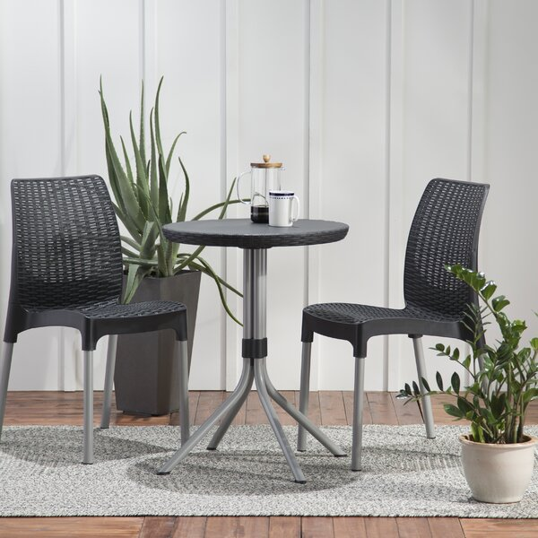 Steveson 3 Piece Resin Bistro Set by Mercury Row