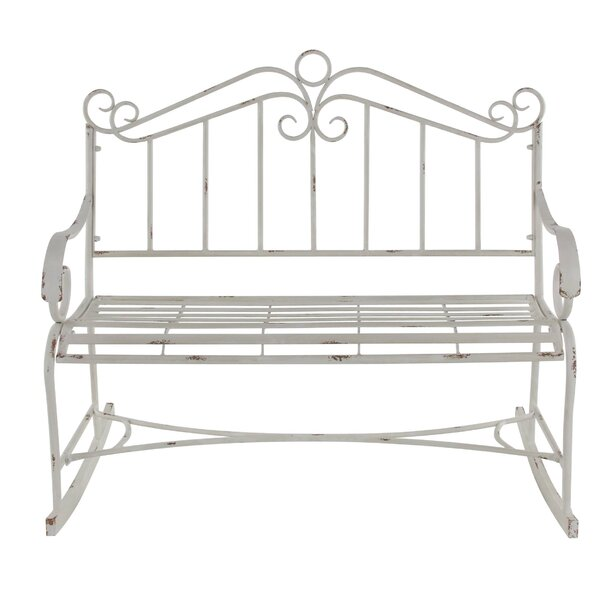 Gianick Traditional Distressed Scrollwork Garden Bench by Ophelia & Co. Ophelia & Co.