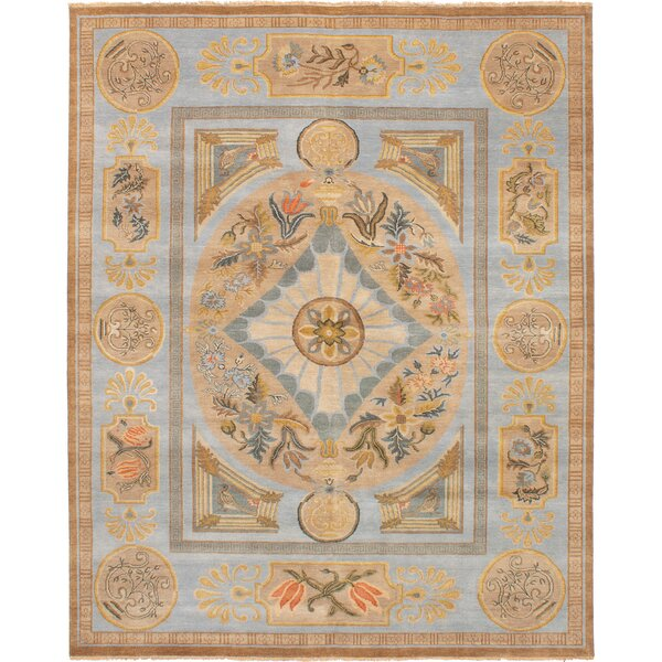 One-of-a-Kind Donoho Hand-Knotted Wool Light Blue/Tan Area Rug by Isabelline