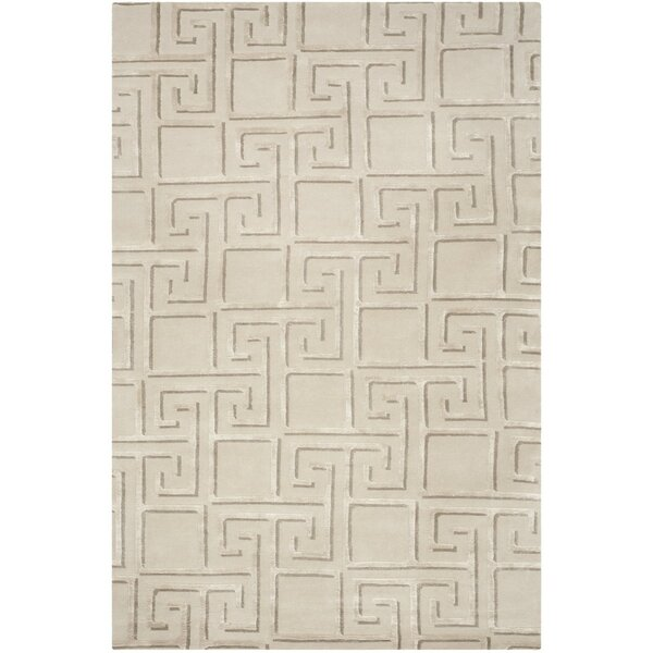 Steinber Hand-Knotted Silver Area Rug by Brayden Studio