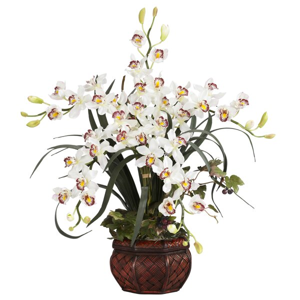 Orchids Floral Arrangement in Pot by Nearly Natural