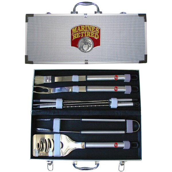 US Armed Forces American Heroes 8-Piece BBQ Grilling Tool Set by Siskiyou Products