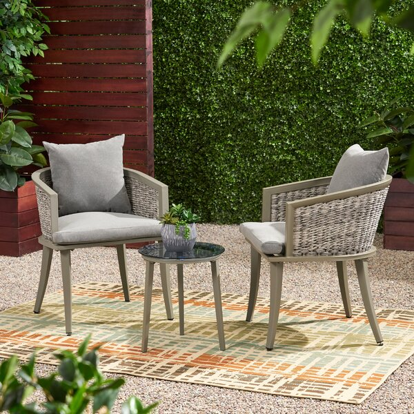 Natalia Outdoor Boho Chat 3 Piece Seating Group with Cushions by Brayden Studio