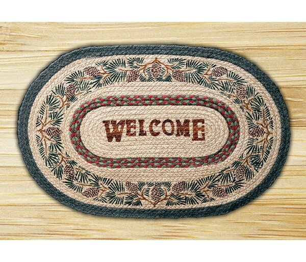 Pinecone Welcome Printed Area Rug by Earth Rugs