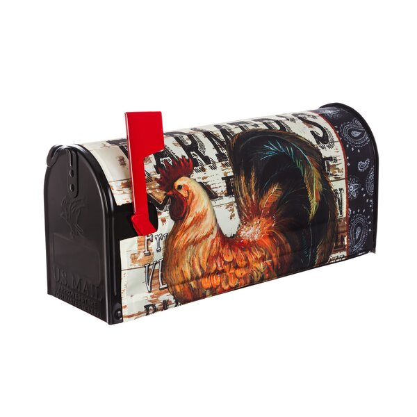 Wood Backed Rooster Mailbox Cover by Evergreen Fla