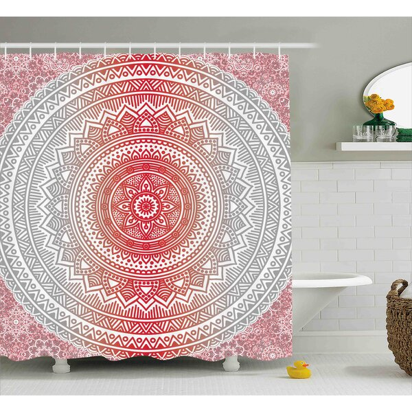 Antonia Grey and Red Hippie Ombre Mandala Cosmos Pattern With Flower Geometric Figures Indie Image Shower Curtain by Bungalow Rose