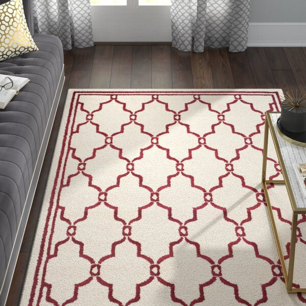 Wason Ivory/Red Indoor/Outdoor Area Rug by Three Posts