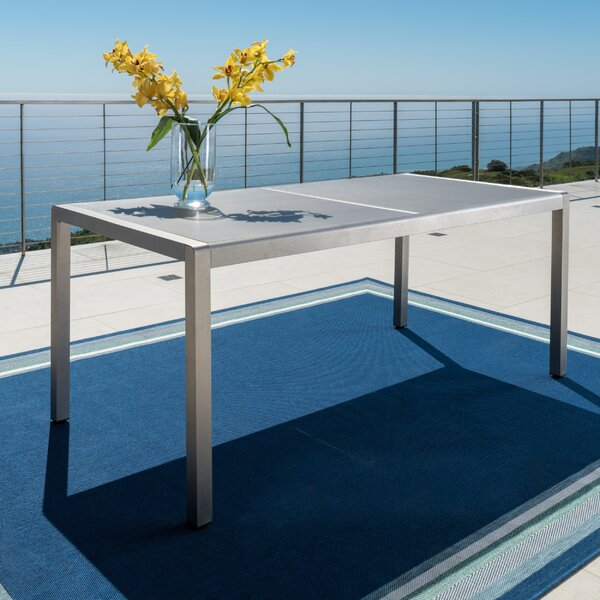 Durbin Aluminum Gray Patio Dining Table by Wade Logan