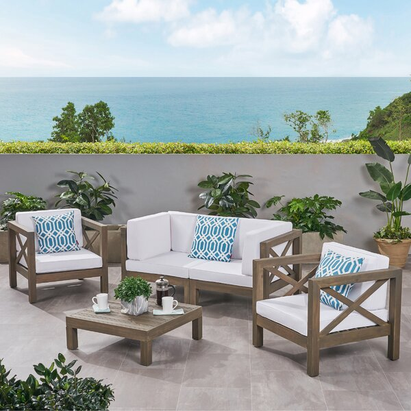 Sklar Outdoor 4 Piece Sofa Seating Group with Cushions by Breakwater Bay