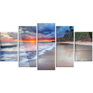 'Fluffy Dark Clouds Over Ocean' 5 Piece Photographic Print on Canvas Set by Design Art