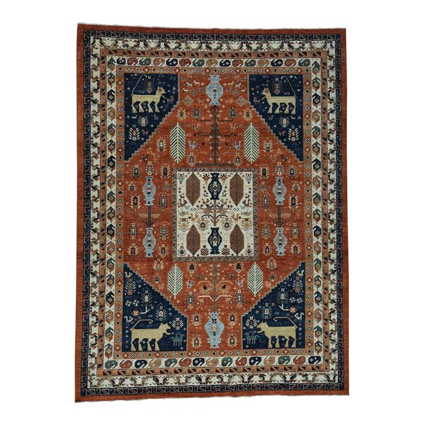 One-of-a-Kind Bagby Ancient Animal Hand-Knotted Rust Red/Ivory Area Rug by Isabelline