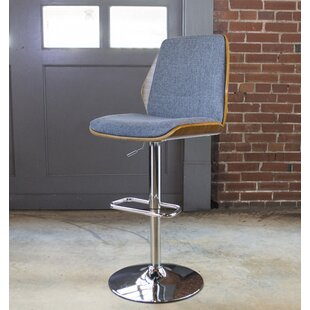 Bent Wood Fabric Adjustable Height Swivel Bar Stool