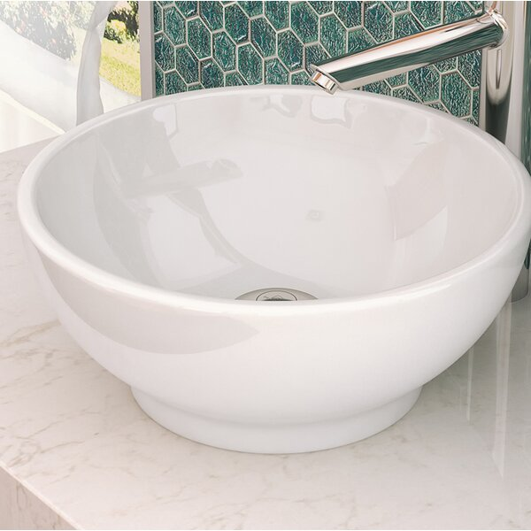 Aila Classically Redefined Ceramic Circular Vessel Bathroom Sink with Overflow by DECOLAV