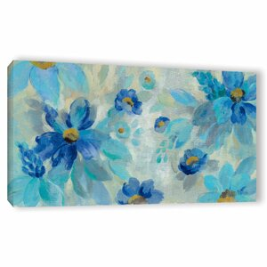'Blue Flowers Whisper I' Print on Wrapped Canvas by Latitude Run