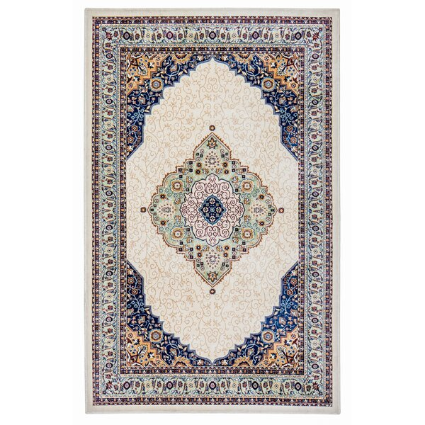 Rowes Medallion Cream/Blue Area Rug by Bloomsbury Market