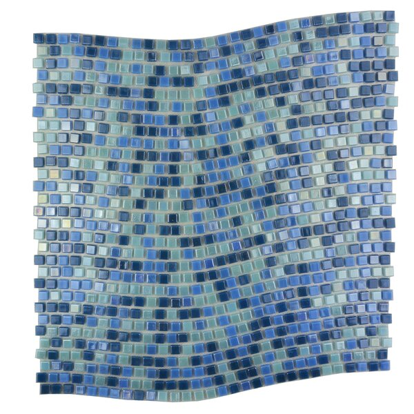 Galaxy Wavy 0.31 x 0.31 Glass Mosaic Tile in Glazed Blue by Abolos