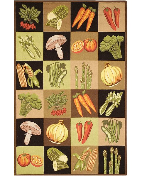 Vintage Posters Vegetable Collage VP251A Multi Novelty Rug by Safavieh